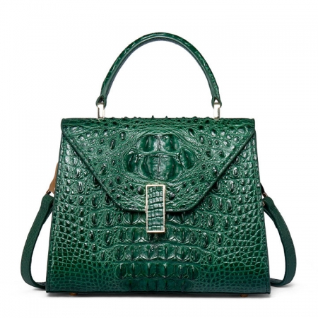Designer Top Handle Crocodile Handbag Crossbody Bag Crocodile Purse-Green