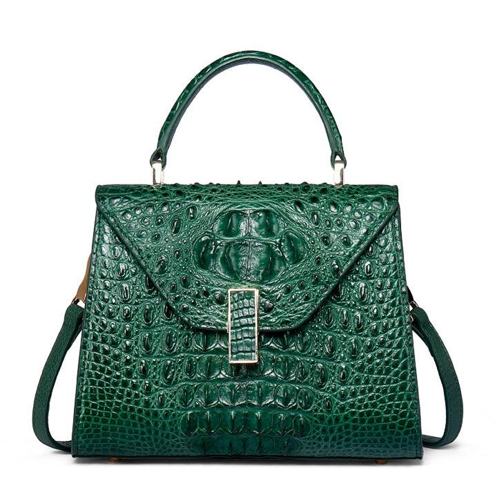 Designer Top Handle Crocodile Handbag Crossbody Bag Crocodile Purse-Green