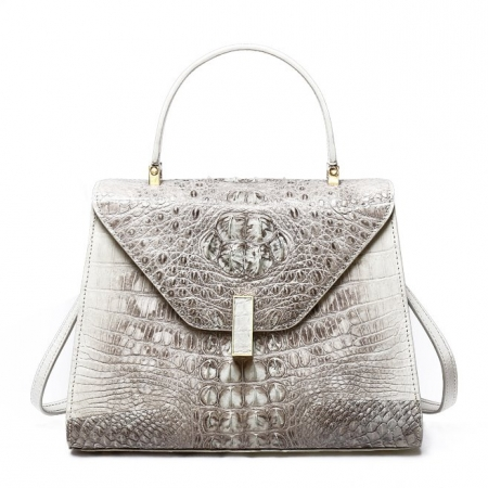 Designer Top Handle Crocodile Handbag Crossbody Bag Crocodile Purse-White