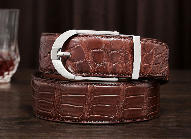 Fashion Alligator Belt, Reversible Alligator Leather Belt for Men-Exhibition