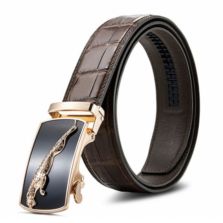 Genuine Alligator Leather Dress Belt, Automatic Sliding Buckle Ratchet Adjustable Track Belt