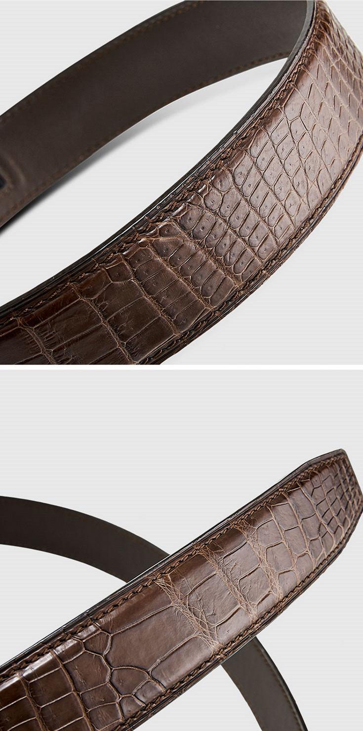 Genuine Alligator Leather Dress Belt, Automatic Sliding Buckle Ratchet Adjustable Track Belt-Alligator Skin
