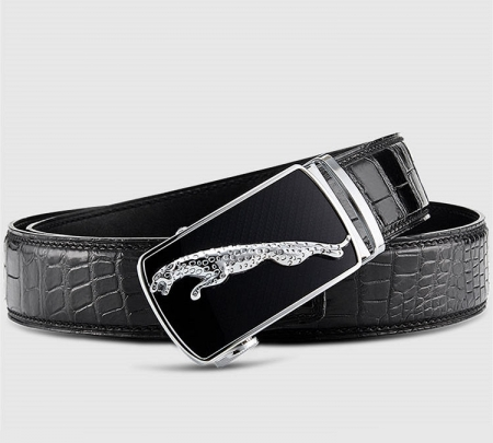 Genuine Alligator Leather Dress Belt, Automatic Sliding Buckle Ratchet Adjustable Track Belt-Black-1