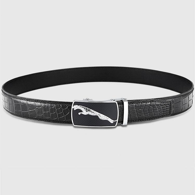 Genuine Alligator Leather Dress Belt, Automatic Sliding Buckle Ratchet Adjustable Track Belt-Black-2