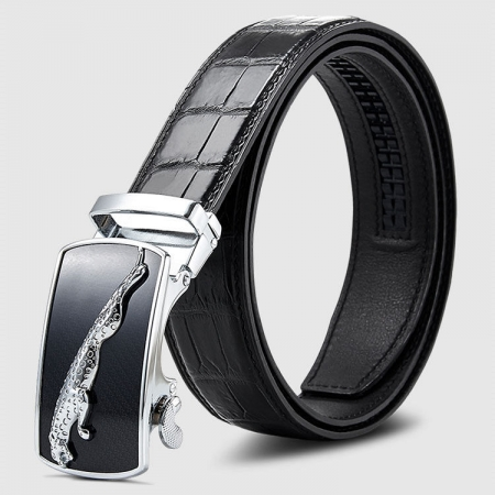 Genuine Alligator Leather Dress Belt, Automatic Sliding Buckle Ratchet Adjustable Track Belt-Black