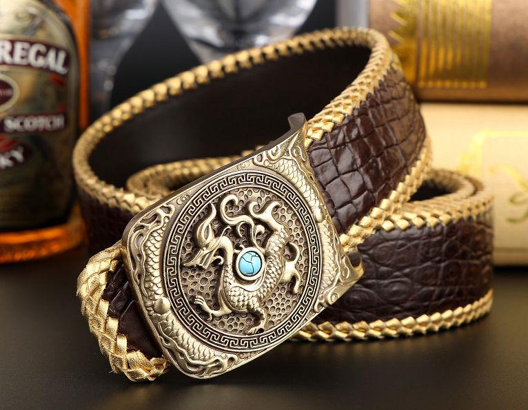 Handwoven Crocodile Belt, Crocodile Brass Dragon Buckle Belt-4