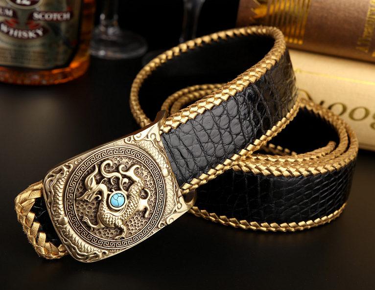 Handwoven Crocodile Belt, Crocodile Brass Dragon Buckle Belt-Black-1
