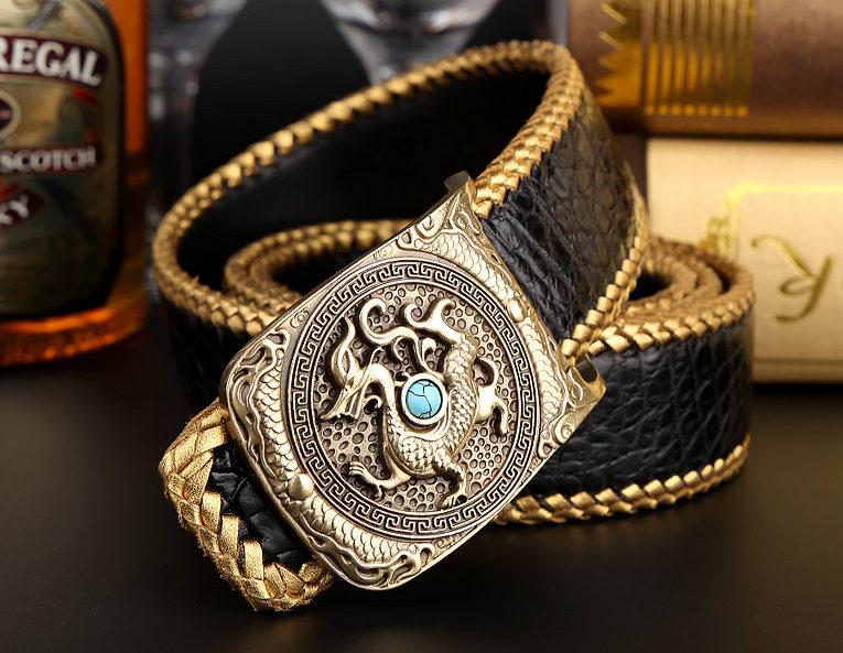 Handwoven Crocodile Belt, Crocodile Brass Dragon Buckle Belt-Black-2