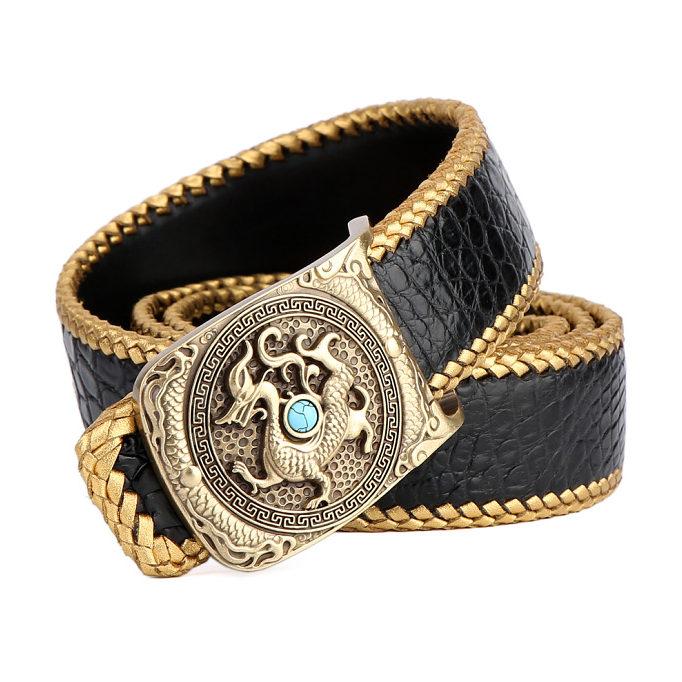 Handwoven Crocodile Belt, Crocodile Brass Dragon Buckle Belt-Black