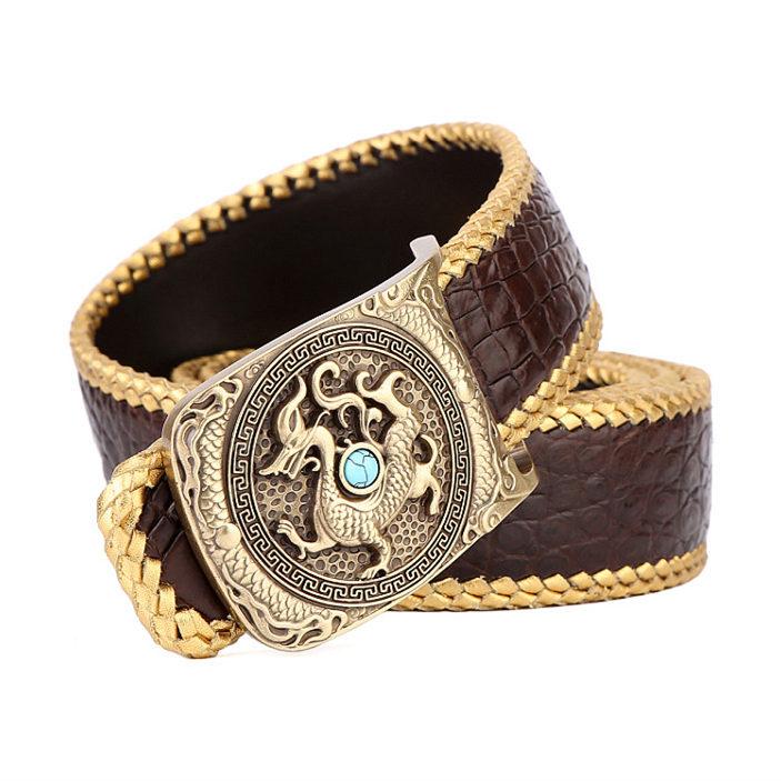 Handwoven Crocodile Belt, Crocodile Brass Dragon Buckle Belt-Brown