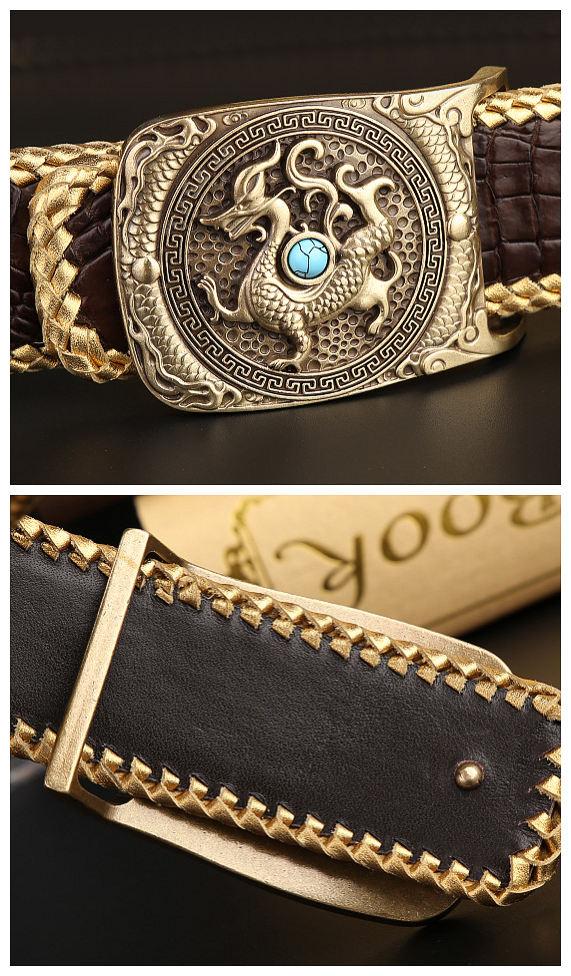 Handwoven Crocodile Belt, Crocodile Brass Dragon Buckle Belt-Buckle