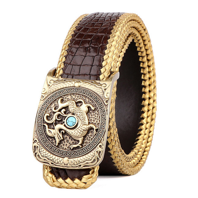 Handwoven Crocodile Belt, Crocodile Brass Dragon Buckle Belt