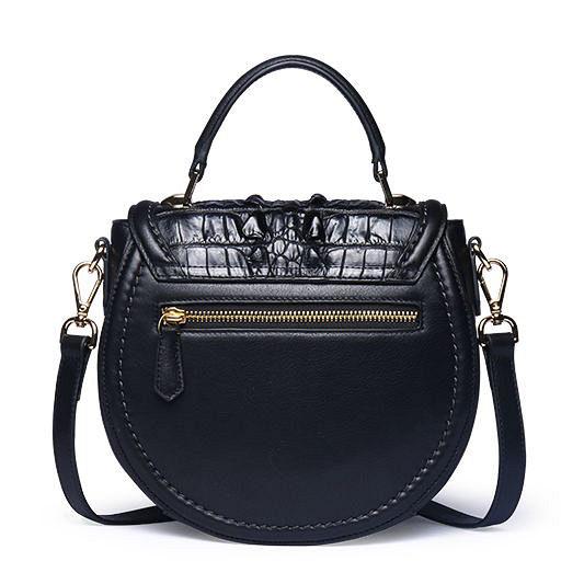 Ladies Designer Crocodile Handbag, Crocodile Purse-Black-Back