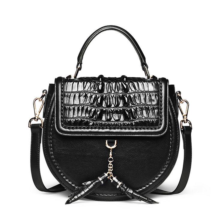 Ladies Designer Crocodile Handbag, Crocodile Purse-Black