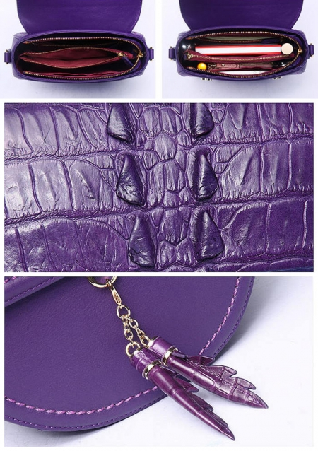 Ladies Designer Crocodile Handbag, Crocodile Purse-Details