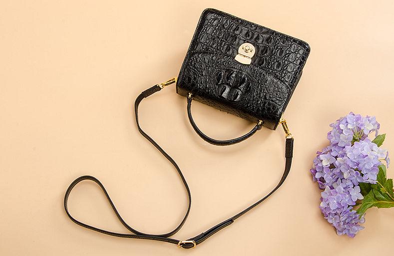 Ladies Designer Crocodile Purses Cross Body Handbags-Black-Exhibition