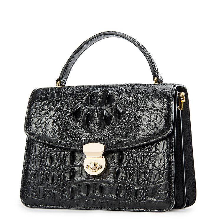 Ladies Designer Crocodile Purses Cross Body Handbags-Black