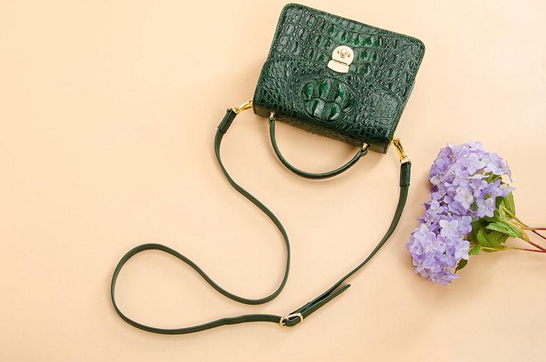 Ladies Designer Crocodile Purses Cross Body Handbags-Green-Exhibition