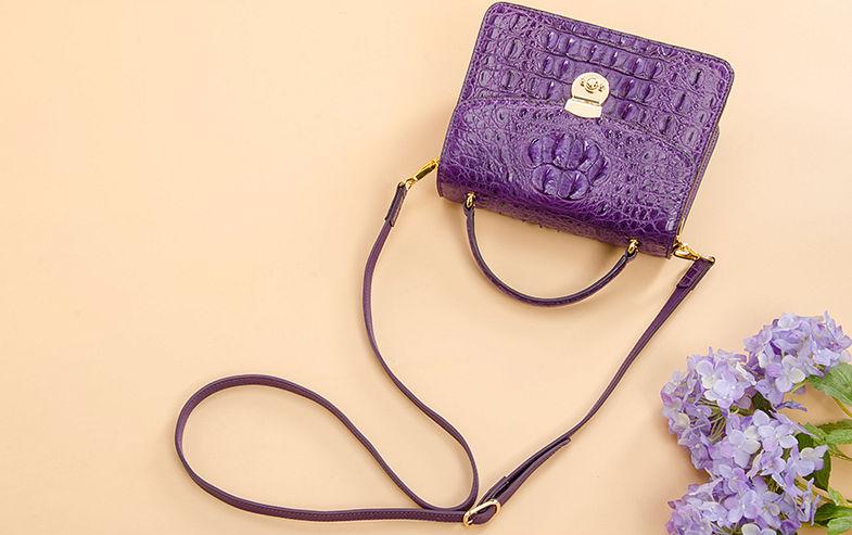 Ladies Designer Crocodile Purses Cross Body Handbags-Purple-Exhibition