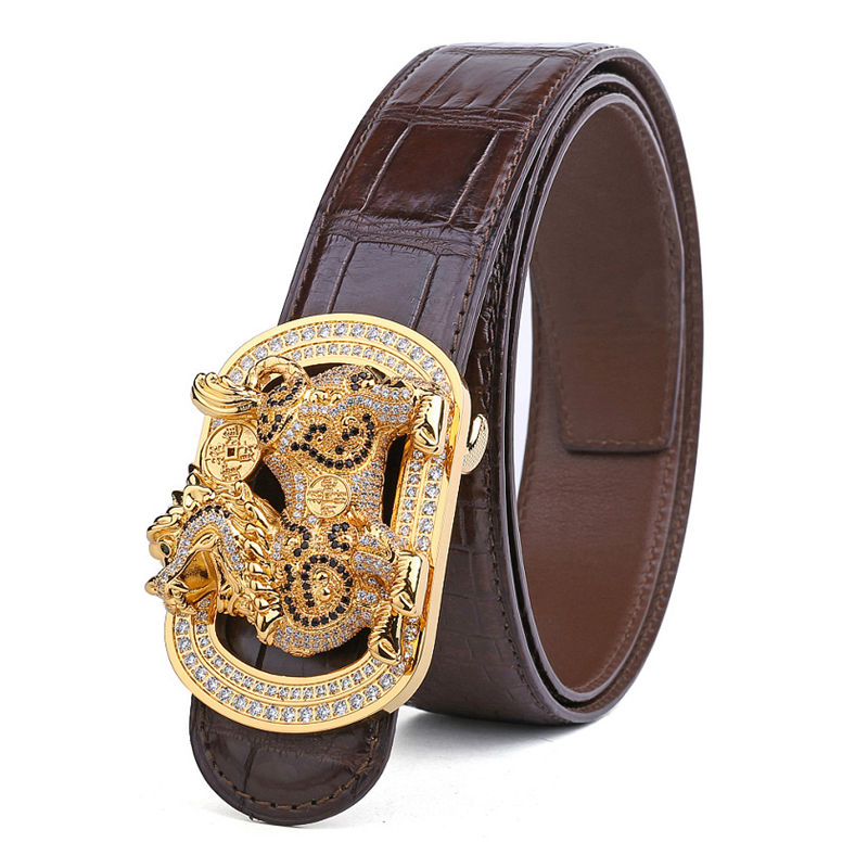 Luxury Alligator Skin Belt with Natural Zircons and Kylin Pattern Pin Buckle