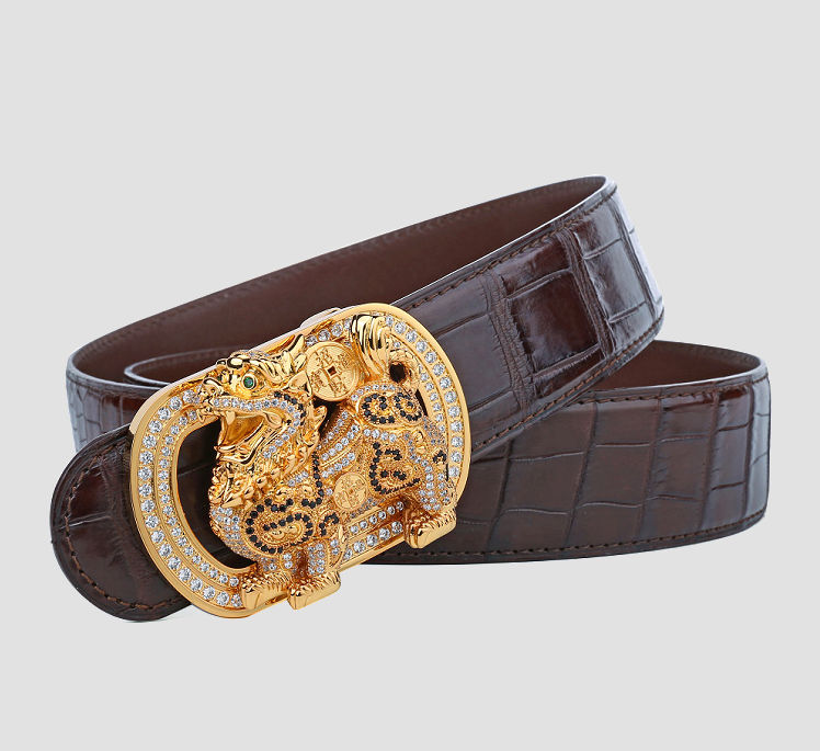 Luxury Alligator Skin Belt with Zircons and Kylin Pattern Pin Buckle-1