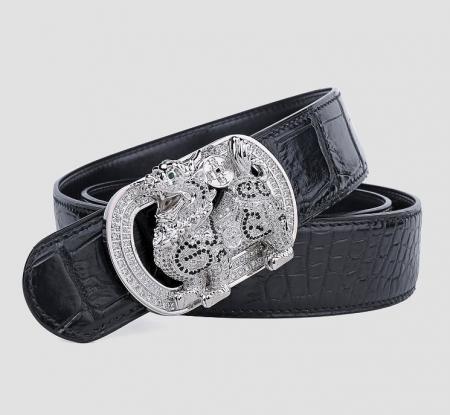 Luxury Alligator Skin Belt with Zircons and Kylin Pattern Pin Buckle-Black-1