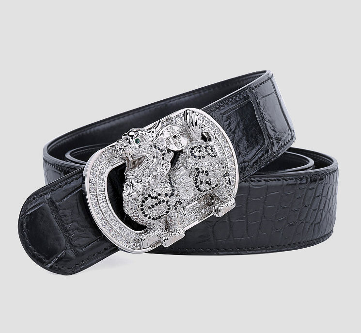 Luxury Alligator Skin Belt with Zircons and Kylin Pattern Pin Buckle-Black-1