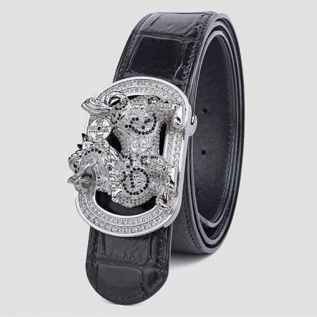 Luxury Alligator Skin Belt with Zircons and Kylin Pattern Pin Buckle-Black
