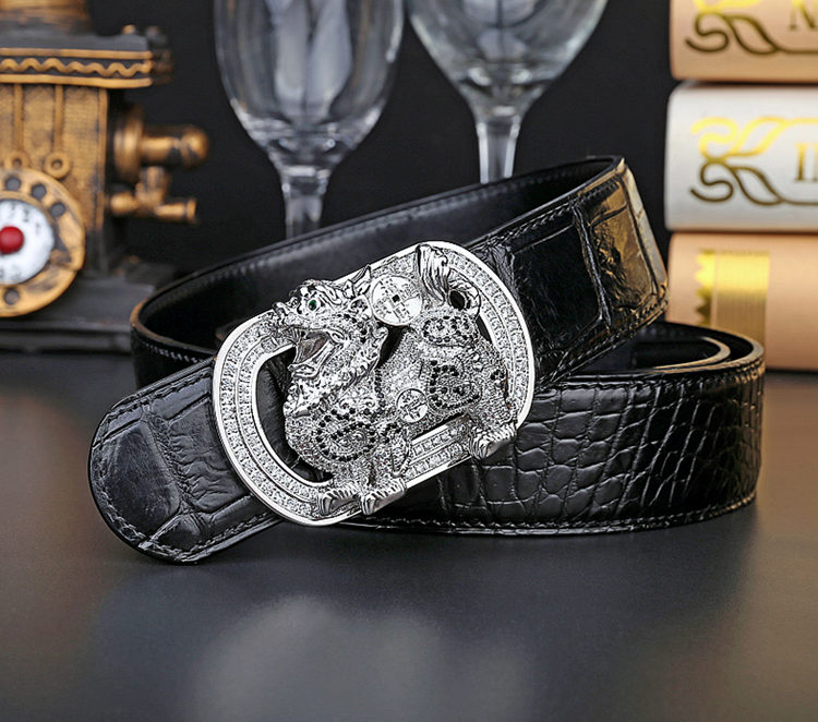 Luxury Alligator Skin Belt with Zircons and Kylin Pattern Pin Buckle-Black-Exhibition