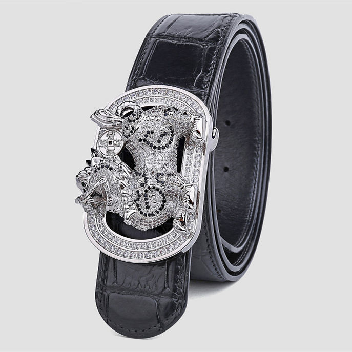 Luxury Alligator Skin Belt with Zircons and Kylin Pattern Pin Buckle-Black