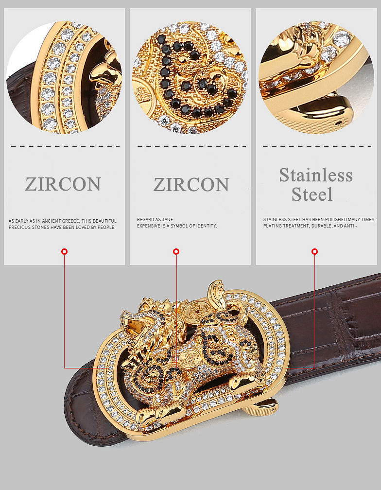 Luxury Alligator Skin Belt with Zircons and Kylin Pattern Pin Buckle-Details