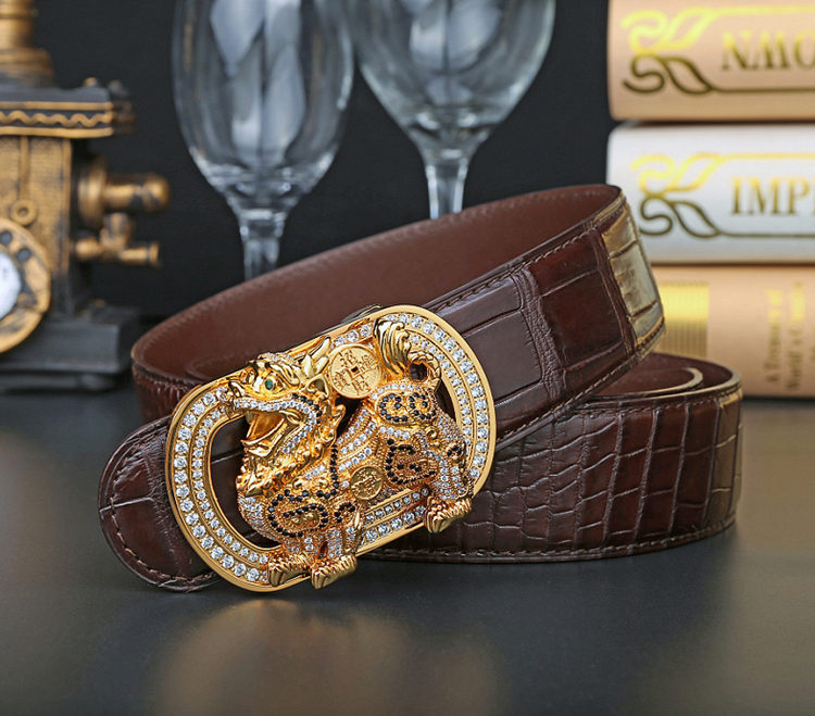 Luxury Alligator Skin Belt with Zircons and Kylin Pattern Pin Buckle-Exhibition