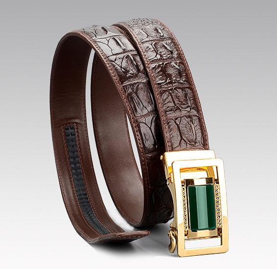 Luxury Crocodile Belt With Agate Buckle-1