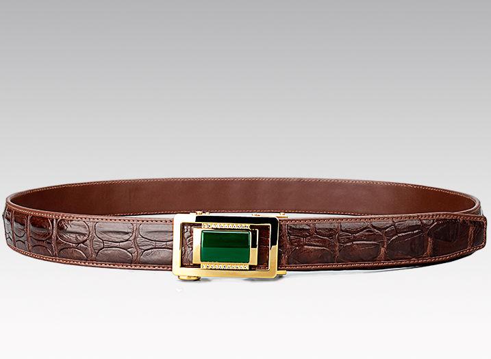 Luxury Crocodile Belt With Agate Buckle-2