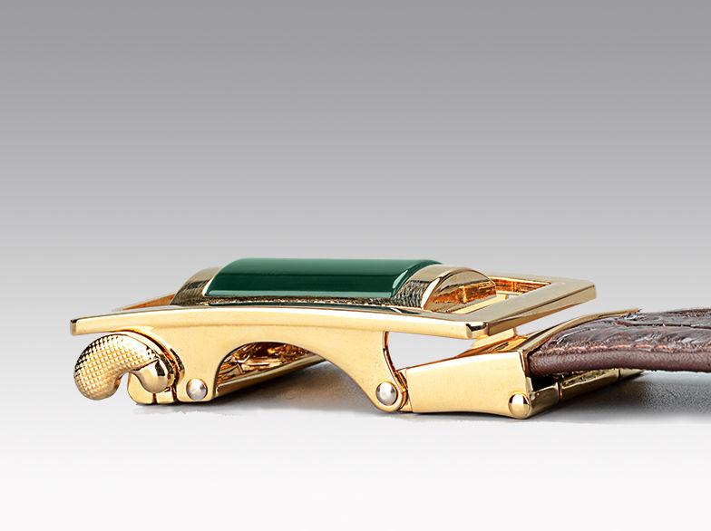 Luxury Crocodile Belt With Agate Buckle-Buckle
