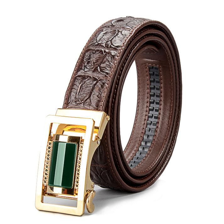 Luxury Crocodile Belt With Agate Buckle