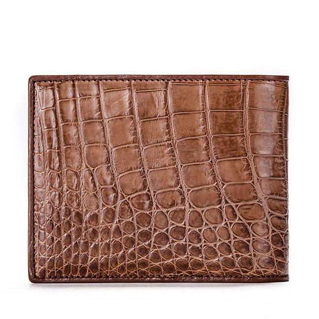 Luxury Crocodile Wallet, Premium Crocodile Bifold Wallet-Brown-Back