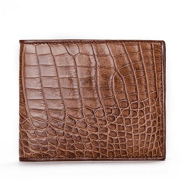 Luxury Crocodile Wallet, Premium Crocodile Bifold Wallet-Brown