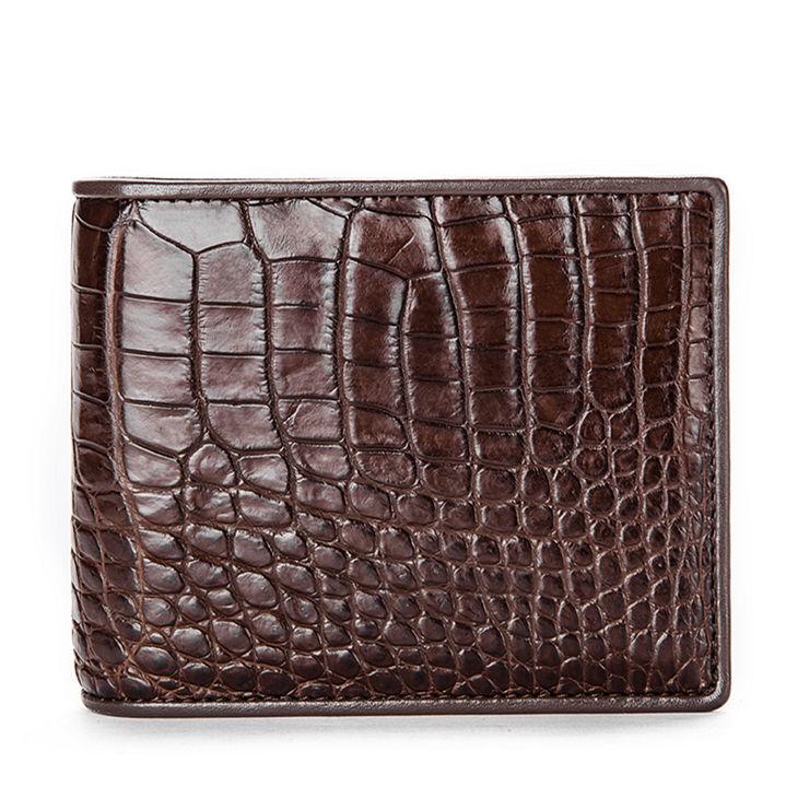 Luxury Crocodile Wallet, Premium Crocodile Bifold Wallet-Dark Brown