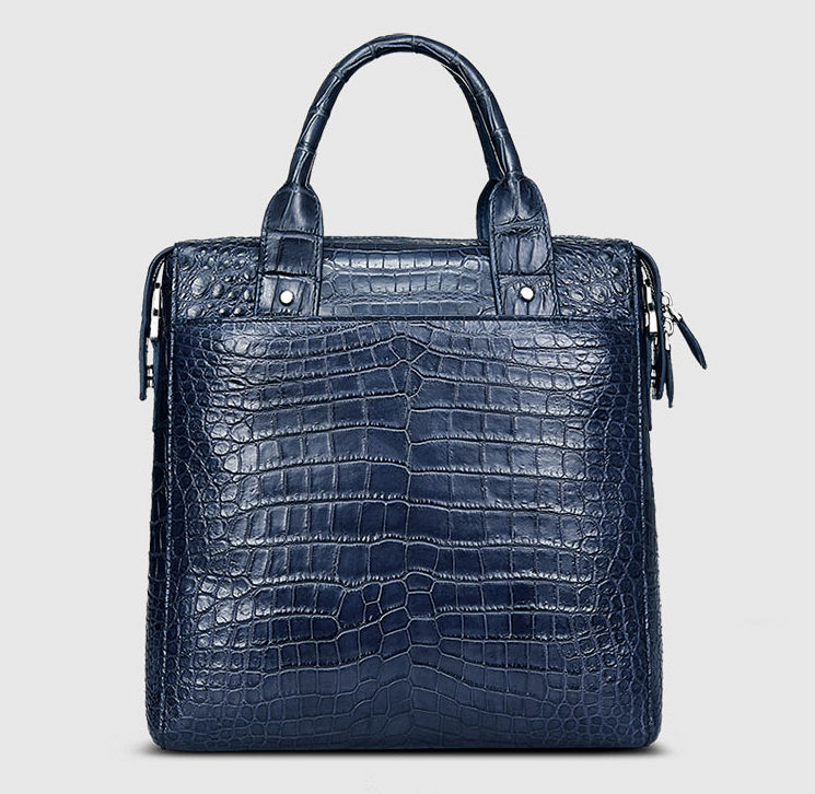 Mens Alligator Briefcase, Alligator Business Bag-Dark Blue-Back