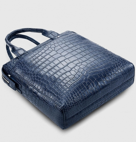 Mens Alligator Briefcase, Alligator Business Bag-Dark Blue--Bottom