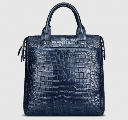 Mens Alligator Briefcase, Alligator Business Bag-Dark Blue-Front