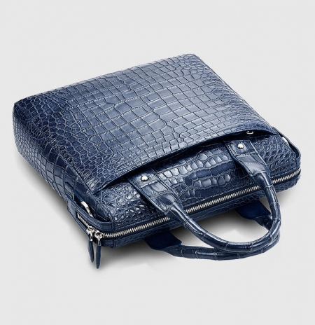 Mens Alligator Briefcase, Alligator Business Bag-Dark Blue-Top