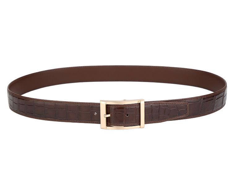 Mens Alligator Dress Belt, Classic Alligator Belt for Men-Brown-2