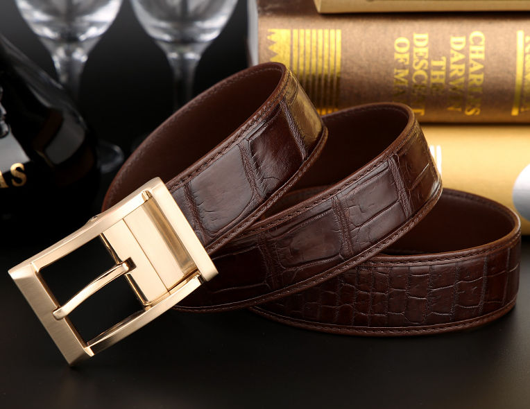 Mens Alligator Dress Belt, Classic Alligator Belt for Men-Brown-Exhibition