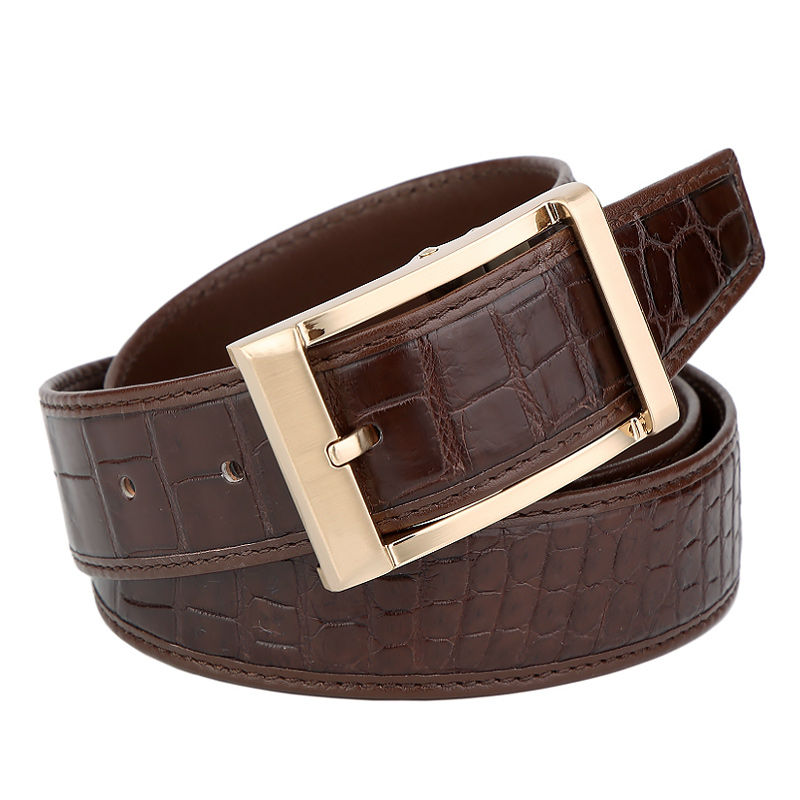 Mens Alligator Dress Belt, Classic Alligator Belt for Men-Brown