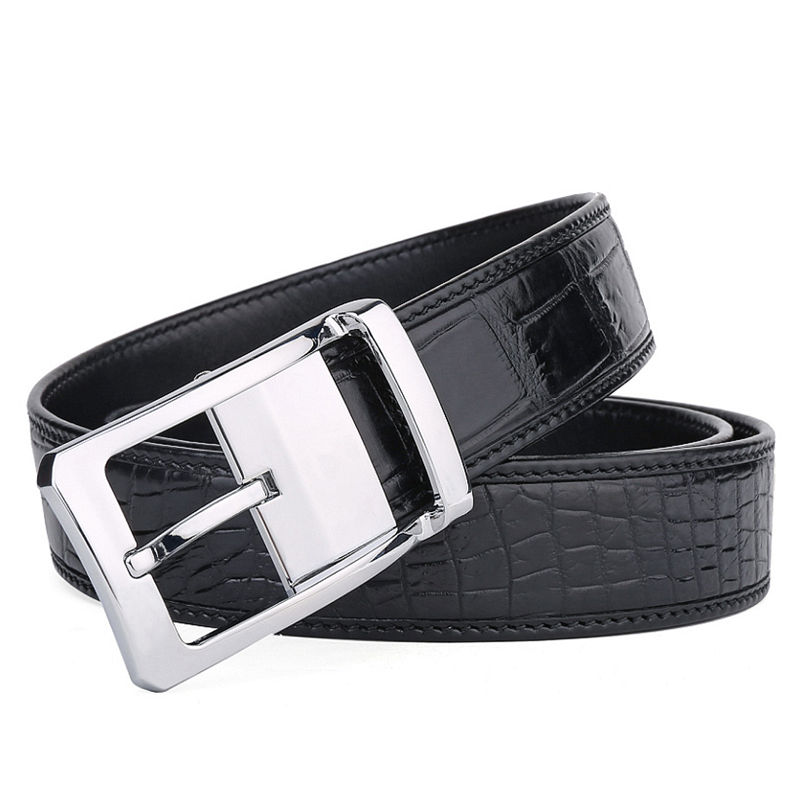 Mens Alligator Dress Belt, Classic Alligator Belt for Men-Buckle