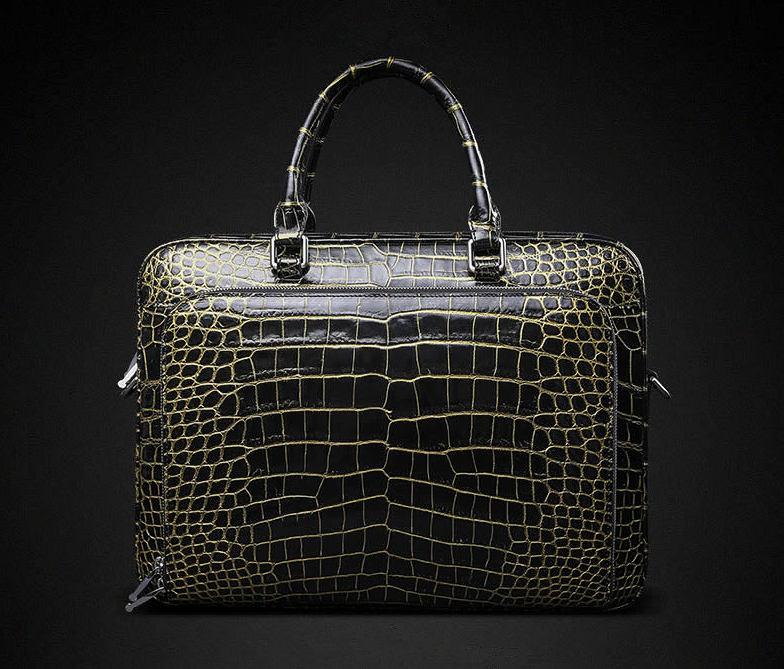 Mens Alligator Leather Briefcase Shoulder Laptop Business Bag-Back