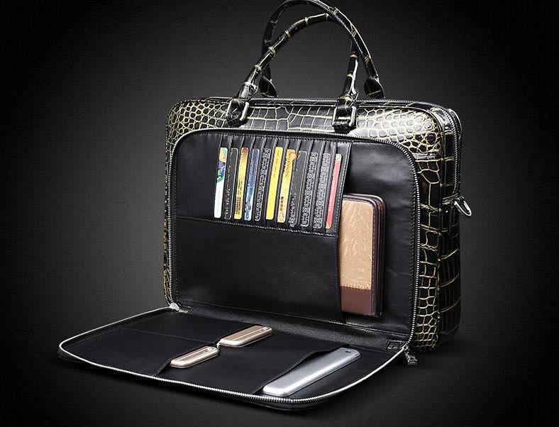 Mens Alligator Leather Briefcase Shoulder Laptop Business Bag-Details