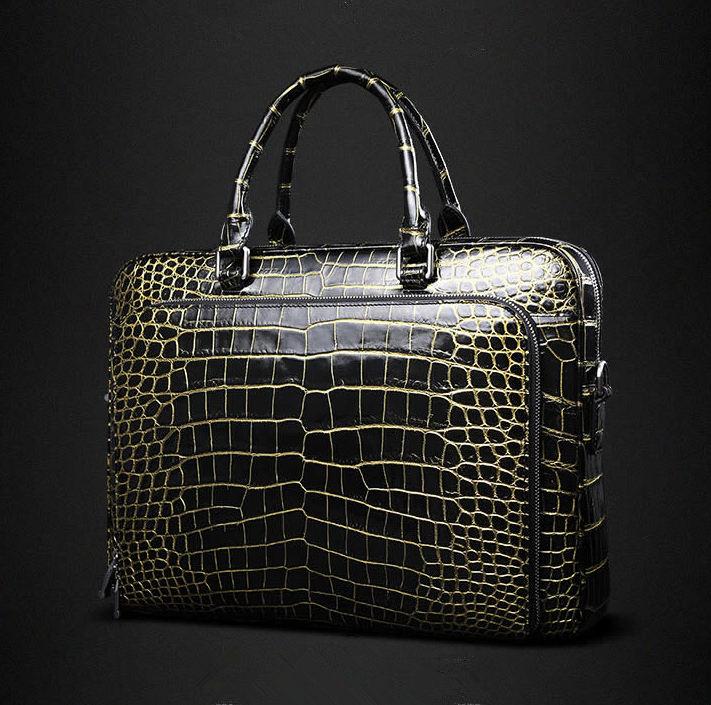 Mens Alligator Leather Briefcase Shoulder Laptop Business Bag-Front